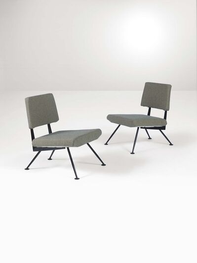 Velca, 'A pair of armchairs with a lacquered metal structure and fabric upholstery', 1960 ca.