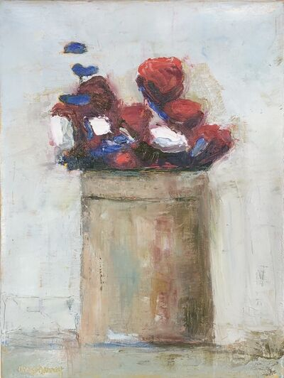 "Anne Harney, '""Ranunculus and Staff"" impressionist style still life oil painting of red, white and blue flowers in a vase', 2020"