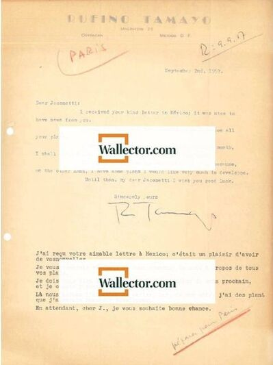 Rufino Tamayo, 'Rufino Tamayo's Correspondance', 1957