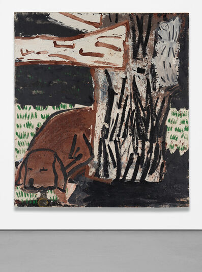Rose Wylie, 'Green Grass, White Cat', 1997