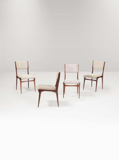 Carlo de Carli, 'Four 671 chairs with a wooden structure and fabric upholstery', 1950 ca.