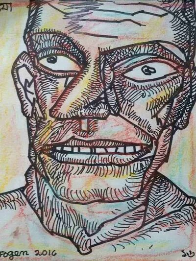 """Jogen Chowdhury, 'Face of a Man, Pastel and Ink on Paper, Black, Brown, Yellow Colours by Modern Artist """"In Stock""""', 2016"""