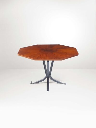 Leonardo Fiori, 'A low table with a brass structure and wooden top', 1950 ca.