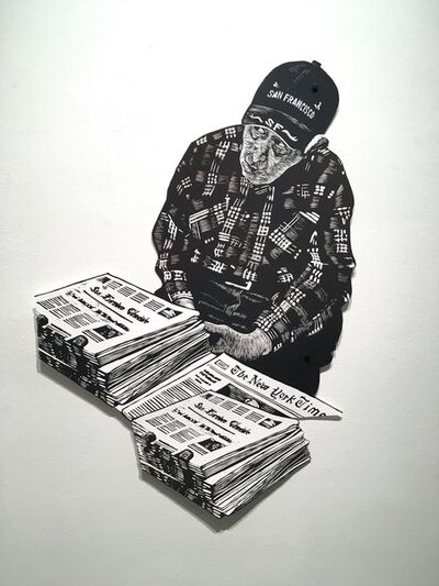 Mary V. Marsh, 'Muni Station News Vendor with Newspaper stack', 2019