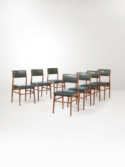Eugenio Quarti, 'Seven chairs with a wooden structure and skai upholstery', 1950 ca.