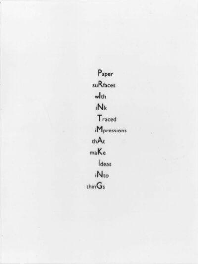 Alec Finlay, 'Printmaking', 2006