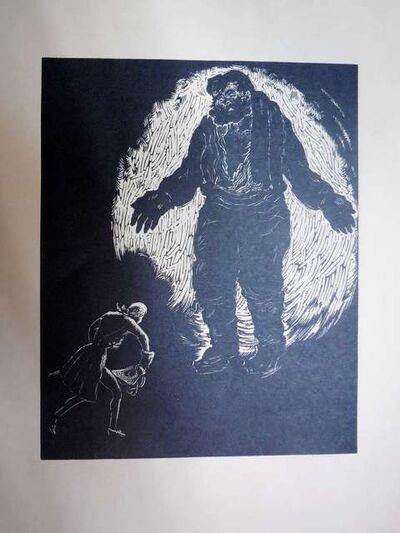 Arthur Kolnik, 'Shtetl Scene Expressionist woodcut', 1930-1939