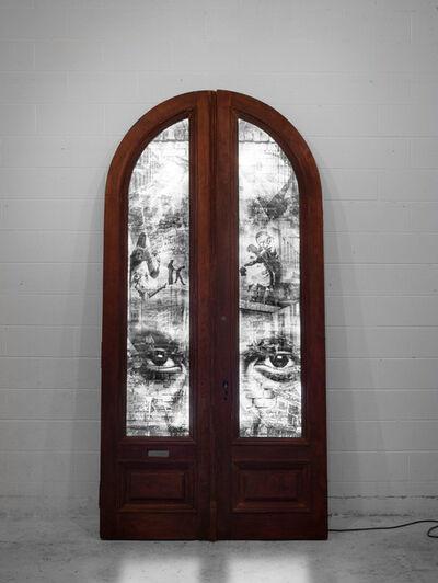 Shai Kremer, 'GENTRIFICATION: Door #2: Bedford-Stuyvesant and Bushwick, Racial tensions. 2016. Light box', 2016