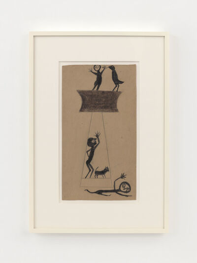 Bill Traylor, 'Construction, Fleeing Figure, Two Men, Bird and Dog', 1939-1942