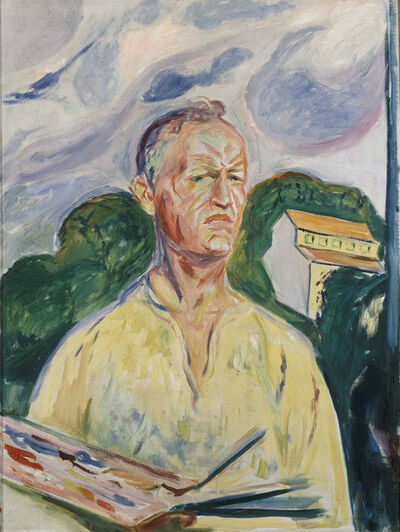 Edvard Munch, 'Self-Portrait with Palette', 1926