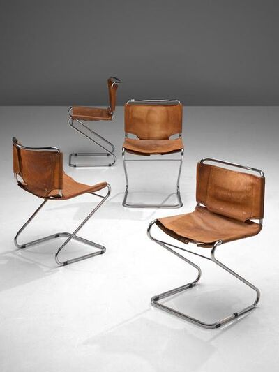 Pascal Mourgue, 'Set of 'Biscia' Chairs in Patinated Cognac Leather ', 1960s