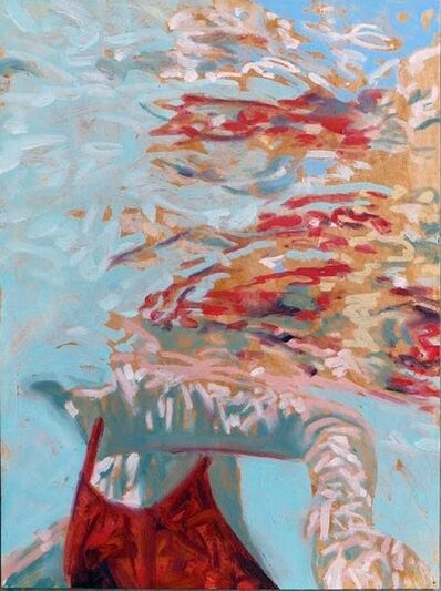 "Carol Bennett, '""Papillion"" abstract oil painting of a woman in a red suit in a blue pool', 2010-2017"
