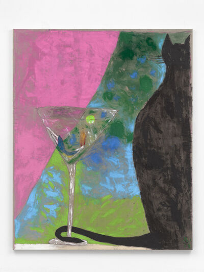 Jenny Watson, 'Self-portrait in a Martini Glass with a Black Cat', 2019