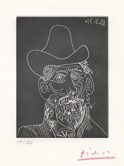 Pablo Picasso, 'Buste d'homme barbu au chapeau', 1971