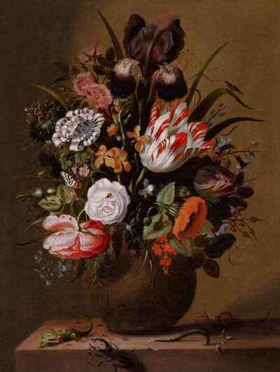 Jakob Marrel, 'Roses, tulips, an iris and other flowers in a stoneware vase on a ledge with a lizard, stag beetle and snail', 1644