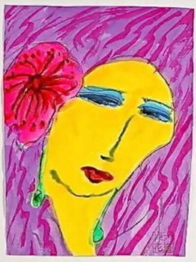 Walasse Ting 丁雄泉, 'Woman with Pink Flower', 2001