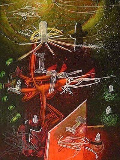 Roberto Matta, ' Je Fixe des Vertiges (plate 1) from the Saison en Enfer Portfolio, Original Print', 1977
