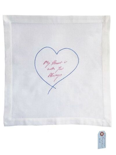 Tracey Emin, 'My Heart Is With You Always - Embroidered Napkin', 2015
