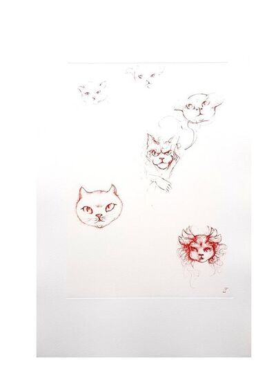 Leonor Fini, 'Leonor Fini - Red Cats - Original Engraving', 1985