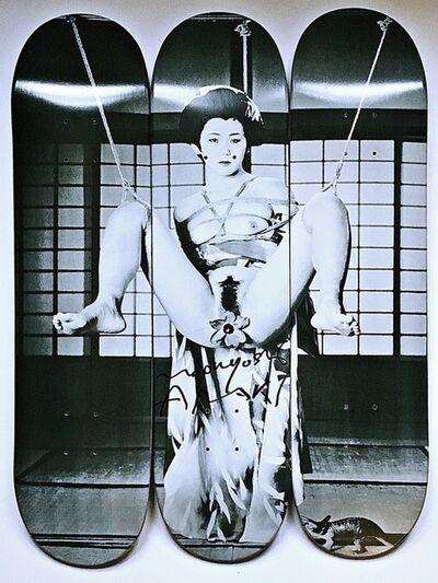Nobuyoshi Araki, 'Geisha Skateboard Triptych (Hand Signed)', 2014