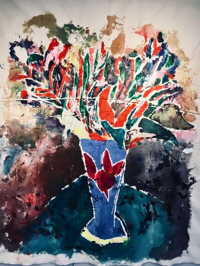 Joel Handorff, 'Large acrylic painting of flowers on raw canvas: 'French Impression'', 2018