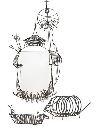 John Risley, 'Animal mirror, basket, and rack', 1960s-70s