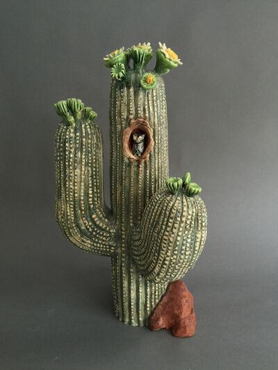 Ellen Rundle, 'Saguro Cactus with Screech Owl', 2016