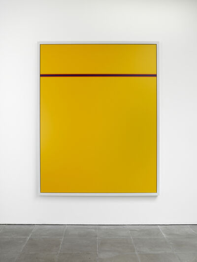 """Cory Arcangel, 'Photoshop CS: 84 by 66 inches. 300 DPI, RGB, square pixels, default gradient """"Blue, Red, Yellow"""", mousedown y=5300 x=8600, mouseup y=5600 x=8600', 2011"""