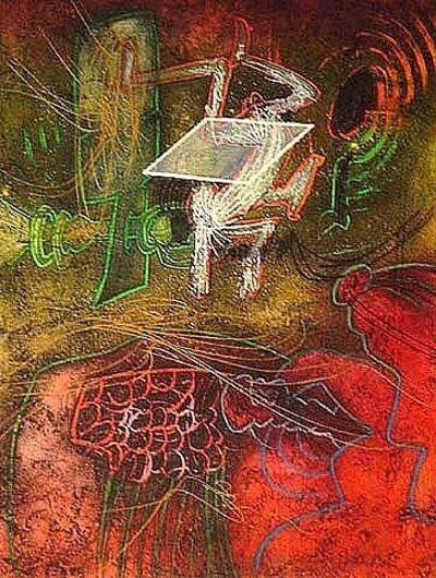 Roberto Matta, ' Damne par l'arc-en-ciel (plate 5) from the Saison en Enfer Portfolio Original Print', 1977