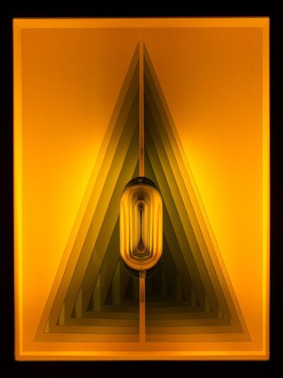 Kenneth Emig, 'Acute Triangle - Illuminated geometric forms in amber yellow', 2020