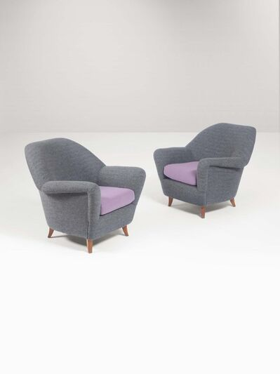 In the style of Ico Parisi, 'A sofa with two armchairs', 1950 ca.