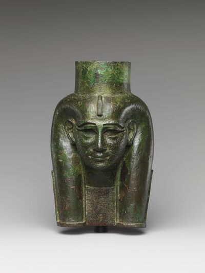 Unknown Egyptian, 'Head of a goddess, probably Mut, for attachment to a processional barque (?)', ca. 700 B.C.