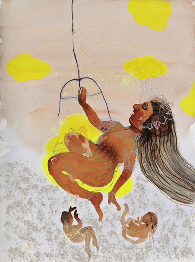 Rina Banerjee, 'Swing swing she was her Swamy's sunshine while moo specks, flakes and frost flirted with her shape. The others not those who had fallen out of grace because of unfortunate race missed her but stayed though out of her way.', 2011