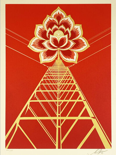 Shepard Fairey, ''Flower Power' (red)', 2021