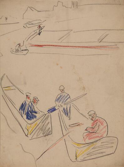Ernst Ludwig Kirchner, 'Schiffer auf der Elbe (Boatmen on the Elbe River)', 1910