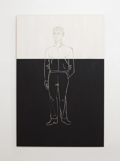 Stephan Balkenhol, 'man on black and white background', 2013