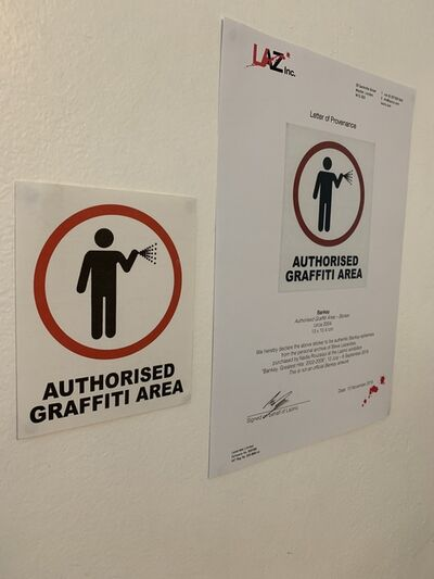 "Banksy, 'BANKSY ""AUTHORISED GRAFFITI AREA"" STICKER WITH COA', ca. 2004"