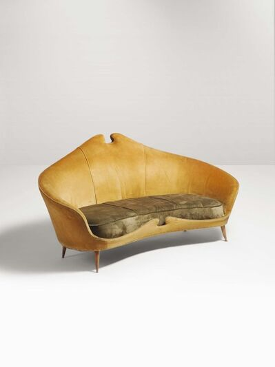 Cesare Lacca, 'A sofa with a wooden structure and velvet upholstery', 1950 ca.