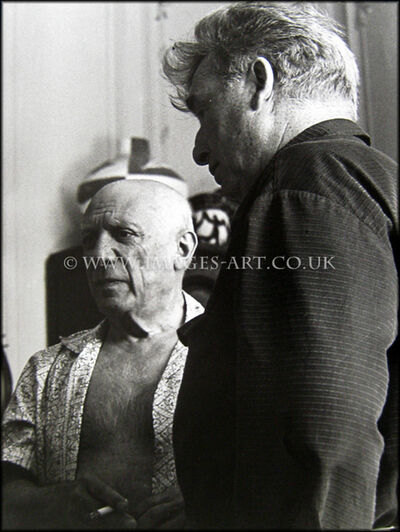 André Villers, 'Picasso with Edouard Pignon indoors', ca. 1955