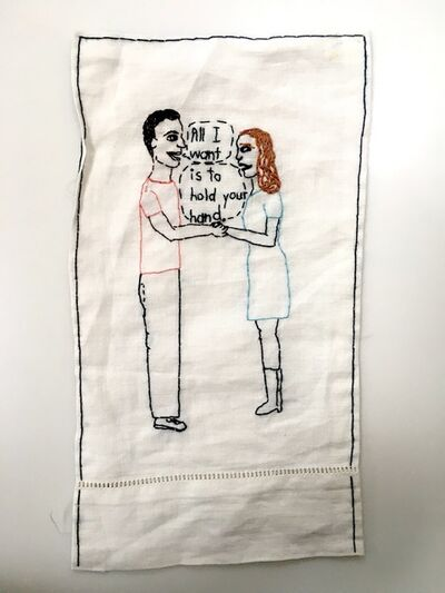 Iviva Olenick, 'Hold your Hand - love narrative embroidery on vintage fabric', 2019