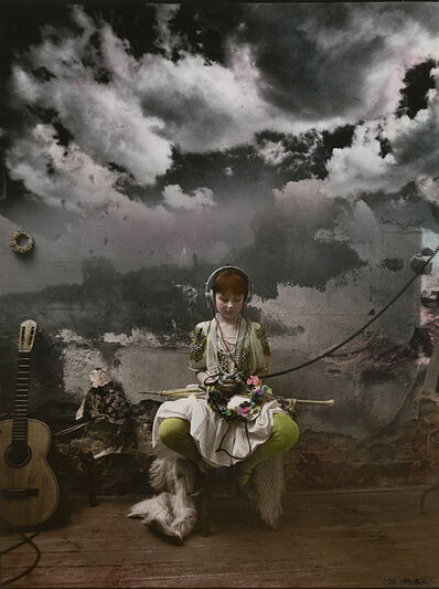 Jan Saudek, 'Girl Seated Listening to Music', 1980/1983