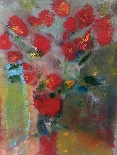 Joel Handorff, 'Painting of bouquet of flowers on canvas: 'Red Pom Poms'', 2018
