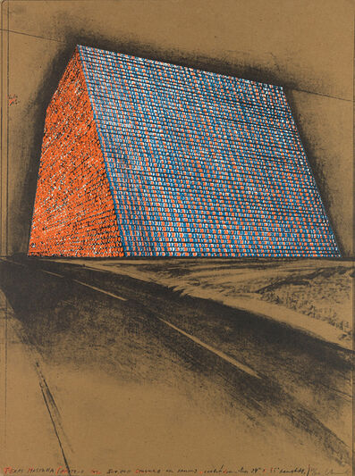 Christo, 'Texas Mastaba, Project for 500,000 Stacked Oil Drums', 1976