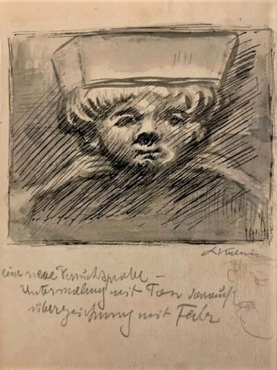 Alfred Kubin, 'Kinderkopf', ca. 1930