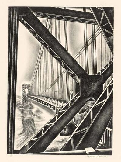 "Howard Cook, 'George Washington Bridge With ""B"" (D. 156)', 1931"