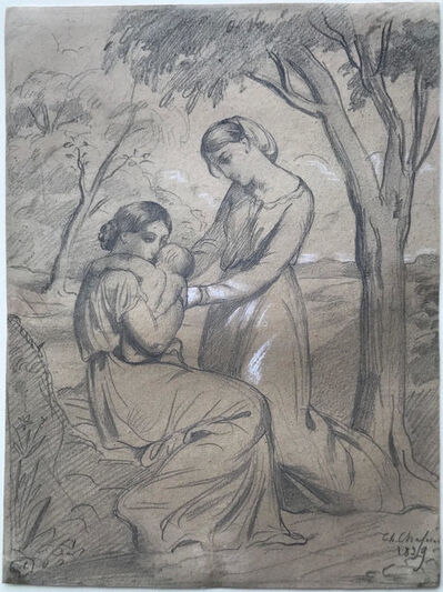 Théodore Chassériau, 'Two women, one sitting and holding a child, the other standing under a tree', 1839