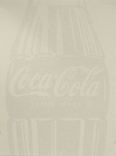 Cey Adams, 'Single Coca-Cola (white on ivory) with Diamond Dust', 2017