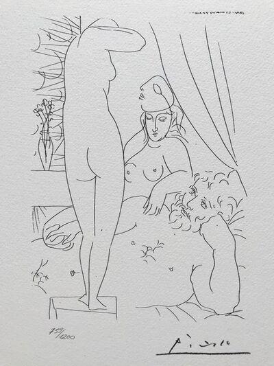 Pablo Picasso, 'Sculpteur au repos avec modèle démasqué et sa représentation sculptée (Suite Vollard Planche L)', 1973