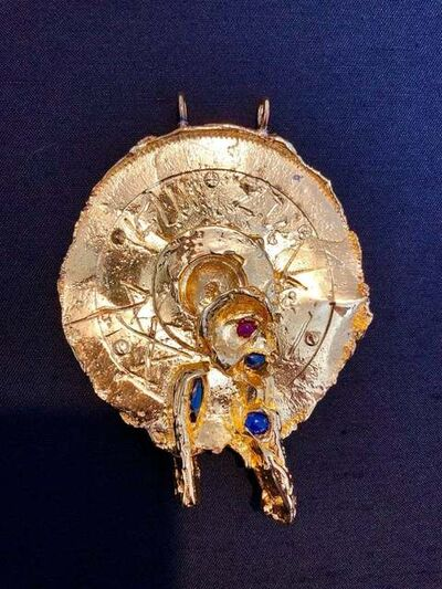Igael Tumarkin, 'Gold Gilt Bronze Sculpture Pendant Art Israeli Tumarkin Abstract Surrealist', 1960-1969