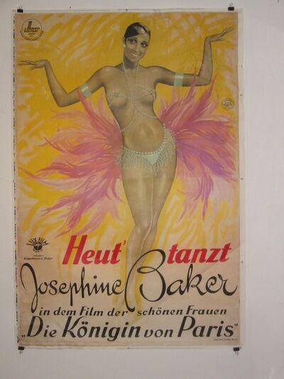 josephine baker, 'Josephine Baker Stone Lithographic Hand Printed Movie Poster', 1925/1980